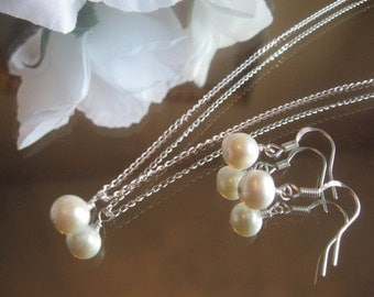 White Akoya Cultured Pearl Silver Chain Necklace and Earring Set - Bride or Bridesmaidl Pearl Jewelry Set