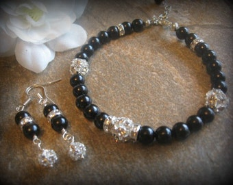 Swarovski Rhinestone and Black Pearl Bracelet and Earring Set - Bride or Bridesmaid Jewelry Set
