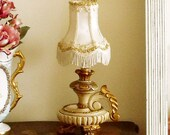 SALE Vintage wood ornated table lamp candlestick reversible