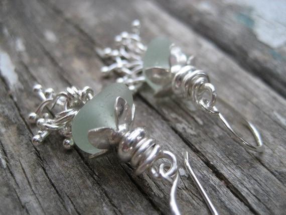 Sea glass earrings - Sea Foam Blue Sea Glass Tassle Earrings - Natural sea glass jewelry