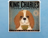 Cavalier King Charles Coffee Company graphic art giclee signed artists print by Stephen Fowler