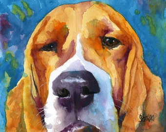 Basset Hound Art Print of Original Watercolor Painting - 8x10 Dog Art