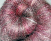 Fiber Batt, Hand Drum Carded Hand Dyed Alpaca, Lincoln Sheep Wool and Tussah Silk for Spinning and Felting 3.1 oz.