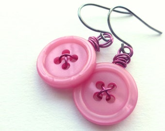 Pink Flambe Vintage Button Dangle Earrings