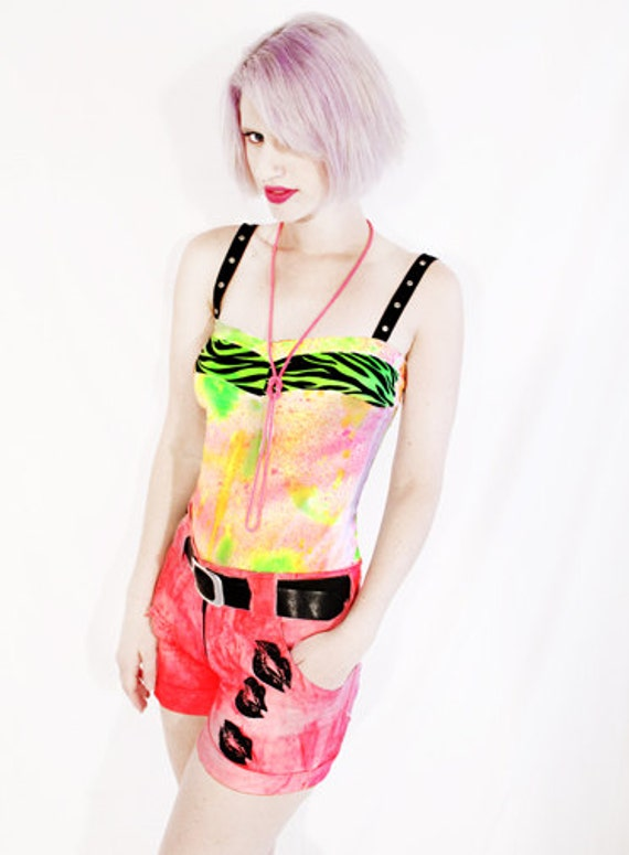 Agoraphobix To Dye For zesty neon splatter & green zebra tank top