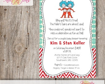 Thing 1 and Thing 2 Baby Shower Invitation......DIY Printable......or add a printing package