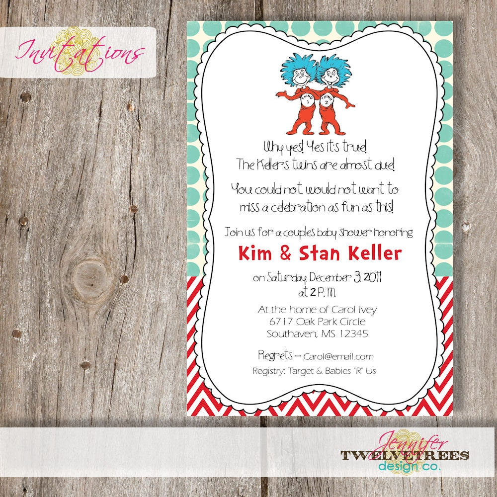 Target Baby Shower Invites: Thing 1 And Thing 2 Baby Shower Invitation......DIY