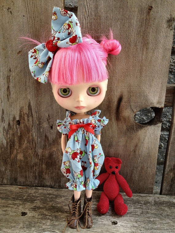 LAST ONE dolly molly Vintage kids blue red romper for BLYTHE doll