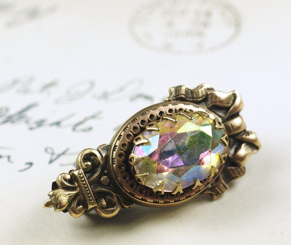 Victorian barrette vintage jewel iridescent bridal hair clip glamour