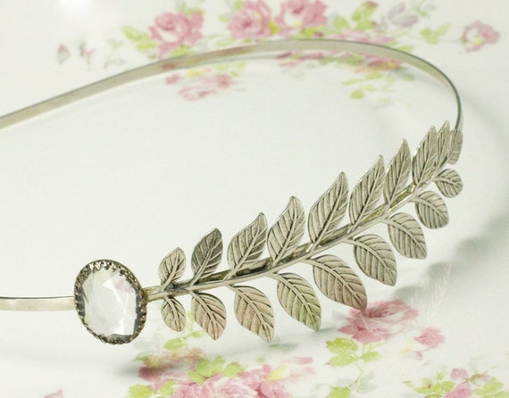 Bridal headband crystal leaf vintage jewel elegant ancient grecian goddess fern antique silver gem 1920s elegant wedding hair accessory