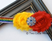 Zoe Luxe Glitter Striped Flower Headband - Rainbow Stripes with Jewel Center - Baby Headband to Adult Headband - SPRING SALE - See Shop