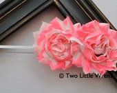 Zoe Flower Headband  - Neon Pink and White Swirls Shabby Chic Flowers - Baby Headband to Adult Headband - SPRING SALE - See Shop