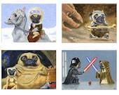 The Ultimate Pug Star Wars Dog Art Print Set