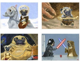 Pug art, The Ultimate Pug Star Wars Dog Art Print Set