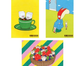 Set of Postcard  -Fruits and Coffee-