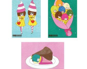 Set of Postcard  -Ice cream-