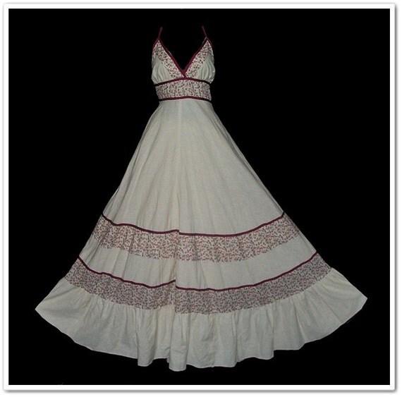 Vintage 70s Gunne Sax Floral Cream Halter Hippie Sun Dress M L