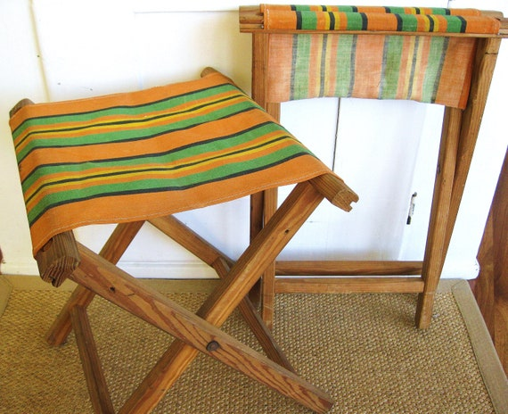 RESERVED...Have a Seat... Vintage Striped Fold Up Camp Stool Luggage Stand Stool Bench
