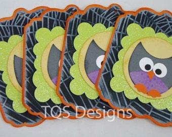 Halloween Embossed Glitter Owl gift Tags set of 4