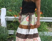 On Hold for JiLLy Earthy Tiered Summer Skirt with side ties