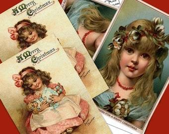 Printable Vintage Christmas Children  Postcards  Instant Download