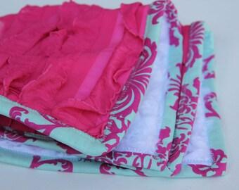 Baby Cuddle Blanket with Ruffle Fabric and Japanese Echino Binding