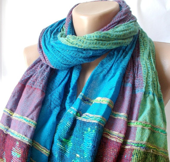 Turquoise Blue, Dark Red, Blue, Teal green mixcolor   Long Scarf, Shawl