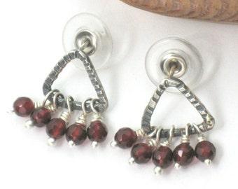 Agate Stud Earrings,  Stud Dangles, Silver Agate Earrings, Faceted Bead Earrings, Small Bead Dangles, Agate Earrings,  Red Agate Drops,