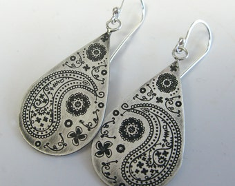 Sterling Silver Paisley Teardrop Earrings
