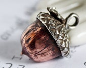 Handmade Acorn Pendant in Copper and Sterling Silver