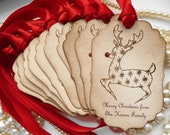Reindeer Christmas Tags Personalised - Set of 10  - Custom Tags