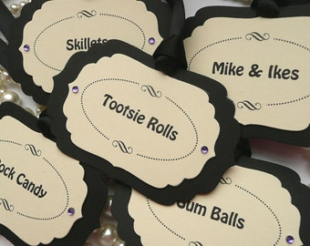 Luxury Candy Buffet Tags - Black and Cream - Custom Choice of Wording