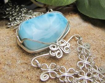 Larimar and Clover Leaf Link Bracelet - Sterling