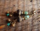 Tibetan Bone Prayer Beads, Turquoise and Indian Charm Beaded Earrings