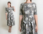 1950s Floral Dress - Vintage Cotton Day Dress with Big Bow - Small to Medium