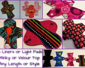 Custom Order 6 Panty Liners or Light Mama Cloth Pads MINKY or VELOUR Topped You Choose Fabrics, Length and Style