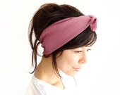 SALE Tie Up Headscarf Clay Ribbed Jersey