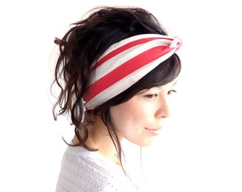 SALE Tie Up Headscarf Raspberry and Oatmeal Stripe