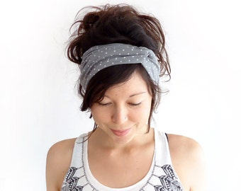 Turban Headband Grey with White Polka Dot
