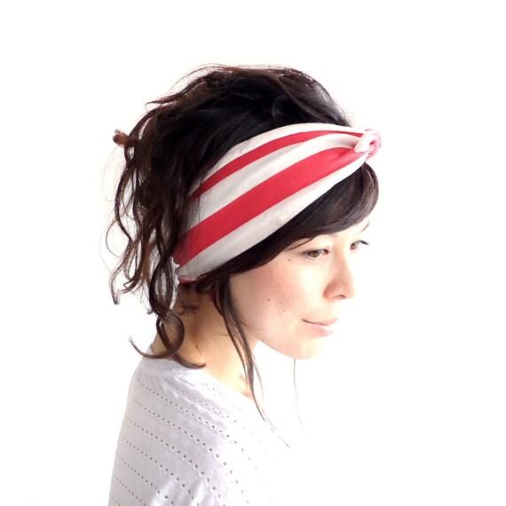 SALE Tie Up Headscarf Raspberry and Oatmeal Stripe