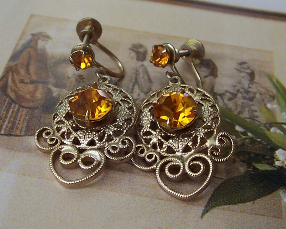 Vintage Amber, Topaz and Filigree Rhinestone Earrings