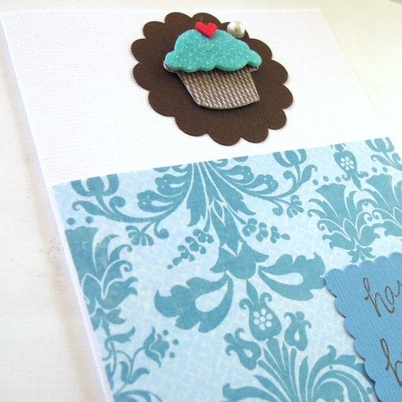 Blue Cupcake - Handmade Birthday Greeting Card
