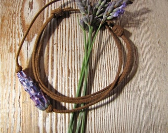 Purple Rose Lavender Glass Bead on Rustic Brown Waxed Linen