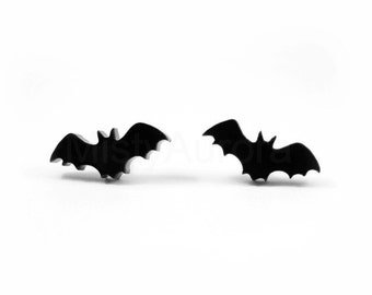 Black Bat Stud Earrings, Halloween Jewelry, Goth Earrings, Tiny Black Stud Earrings, Black Bat Jewelry, Creepy Novelty Jewelry (E136)