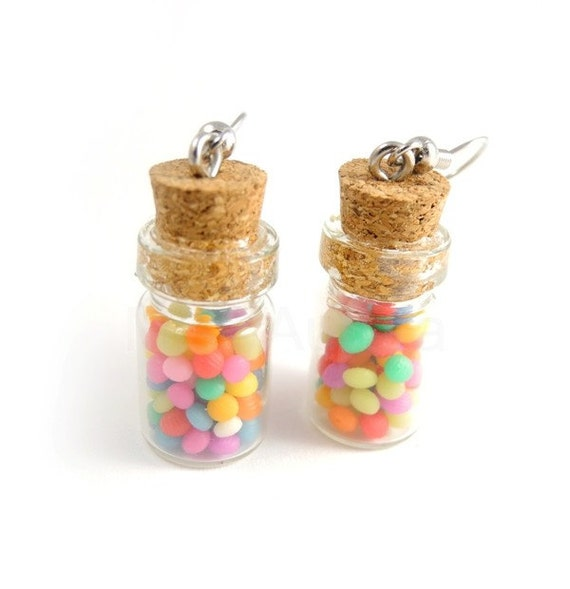 Candy Jars Dangle Earrings - Candy Earrings - Colorful Earrings - Pink Yellow Blue Green