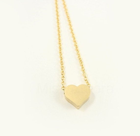 Tiny Heart Necklace - Gold Heart Chain Necklace - Heart Jewelry - Romantic Necklace