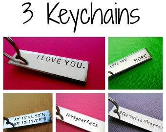 3 Personalized Keychains - Custom Keychain - Hand Stamped Aluminum Accessories