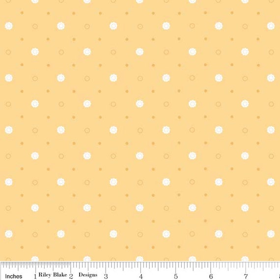 SALE Polka Dot Stitches quilt or craft fabric by Lori Holt for Riley Blake Designs, Polka Dot Dots in Yellow-1 Yard or by the yard