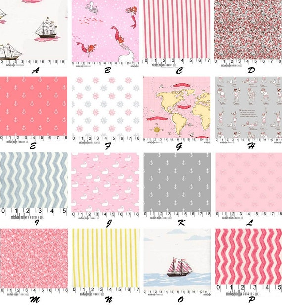 Custom Out To Sea Nautical with Mermaids DESIGNER Boutique Crib Bedding Set Morning Coral Palette CHOOSE & CUSTOMIZE