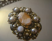 Vintage Signed Weiss Brooch Real Cameo